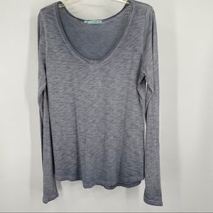 Maurices Gray Pullover Scooped V Neck Top Large